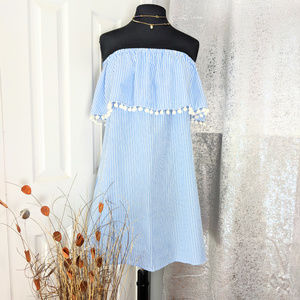 Tassels Light blue striped Dress Sz M